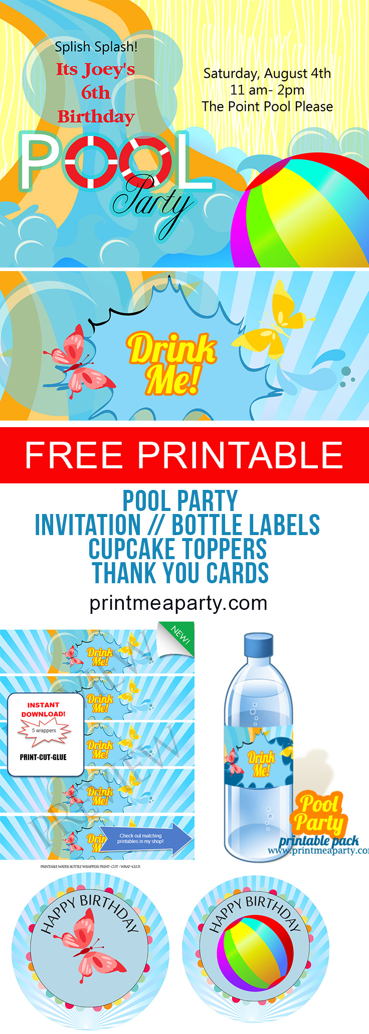 photo relating to Pool Party Printable called Cost-free Pool Social gathering invites - Print Me a Get together