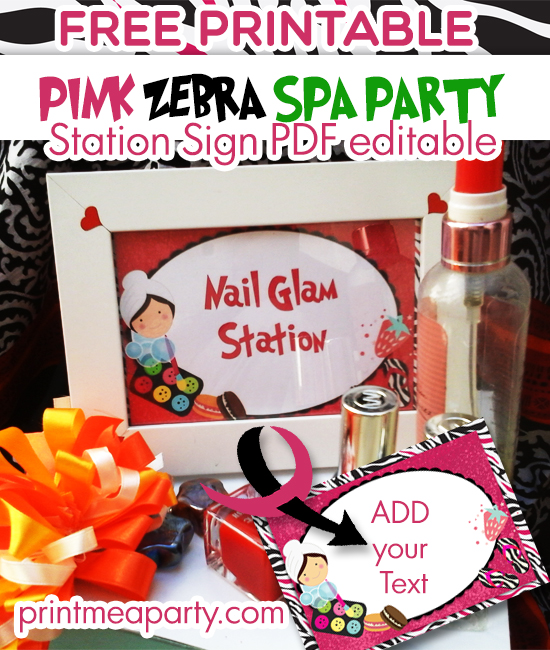 Spa birthday party decorations Free Printable