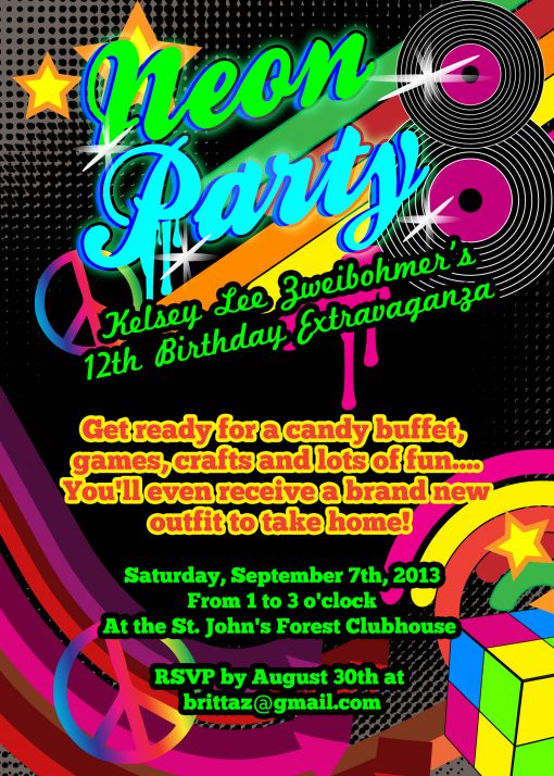 Neon Glow Retro Theme Birthday Party invitation