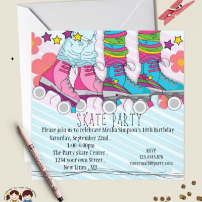 Roller Skate invitations girl printable birthday party invitations